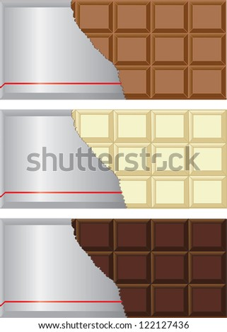 Chocolate bar collection with milk, dark, and white chocolates with the wrapping torn out. - stock vector
