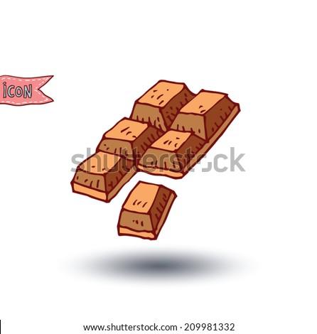 chocolate bar isolated. Hand drawn vector illustration. - stock vector