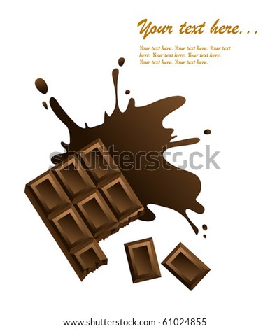 Chocolate bar on white background.