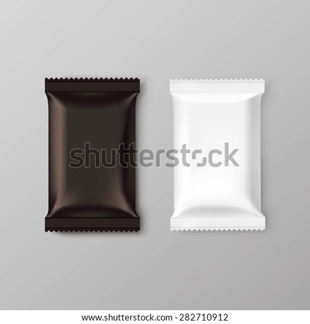 Chocolate bar package packaging blank white brown pack set isolated vector illustration - stock vector