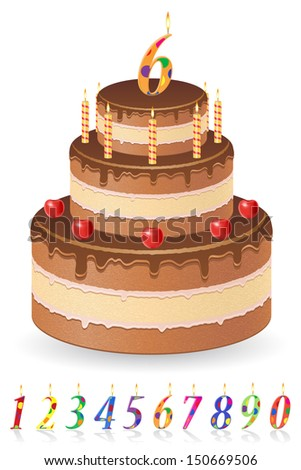chocolate birthday cake with numbers of age vector illustration isolated on white background - stock vector