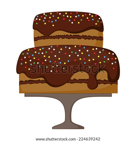 chocolate cake  - stock vector