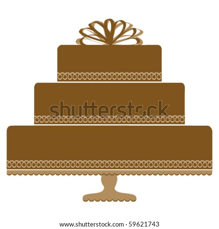 Chocolate Cake on Pedestal Cake Plate - stock vector