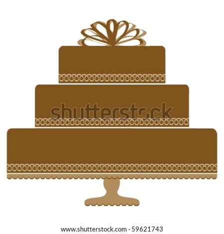 Chocolate Cake on Pedestal Cake Plate - stock vector