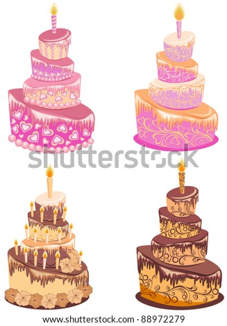 Chocolate cake, vector - stock vector