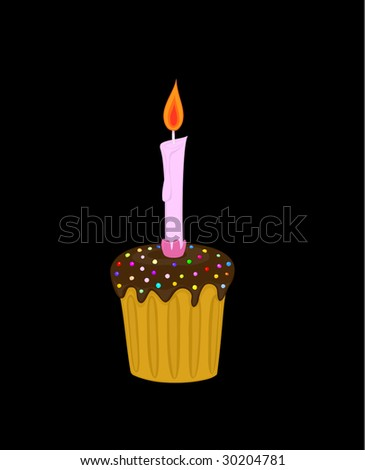 chocolate cake with a candle, black background
