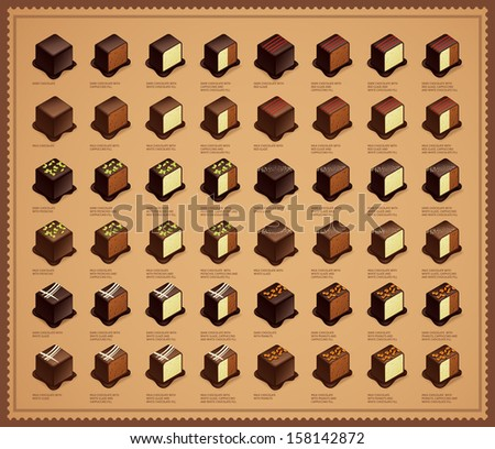 Chocolate Candies - stock vector