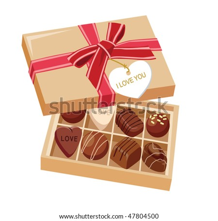 Chocolate candies and gift box with bow - stock vector