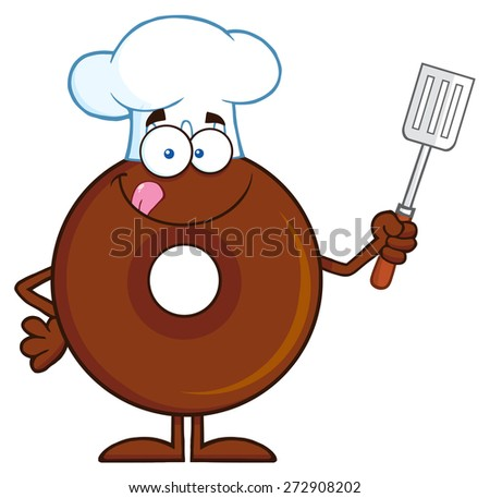 Chocolate Chef Donut Cartoon Character Holding A Slotted Spatula. Vector Illustration Isolated On White - stock vector