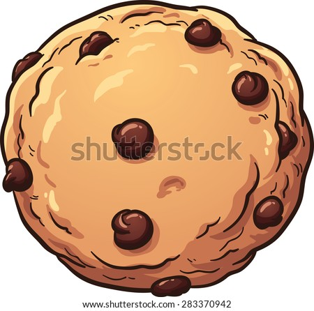 Chocolate chip cookie. Vector clip art illustration with simple gradients. All in a single layer. - stock vector