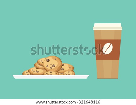 chocolate chip cookies is the best companion to eat together - stock vector