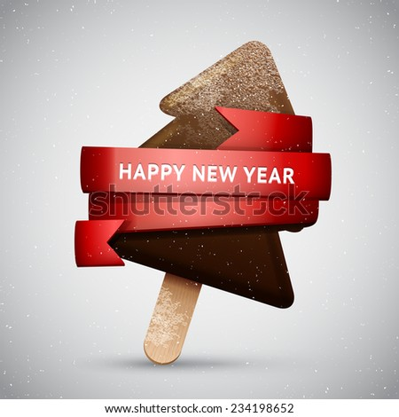 Chocolate Christmas tree ice creamon a stick with red ribbon, New Year frosted sweet vector icon - stock vector