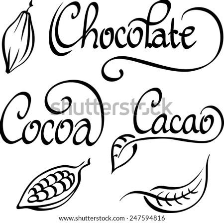 chocolate, cocoa, cacao text - stock vector