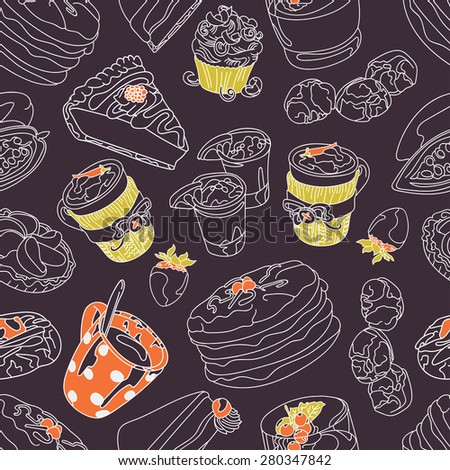Chocolate. Cocoa. seamless illustration: chocolate, cocoa beans, pies, cakes, muffins. seamless background with different of cups of coffee and coffee beans. hand-drawn illustration - stock vector