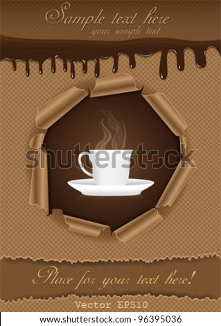 Chocolate & Coffee Poster Template Set - stock vector