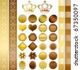 Chocolate color ornaments set. Illustration vector. - stock vector
