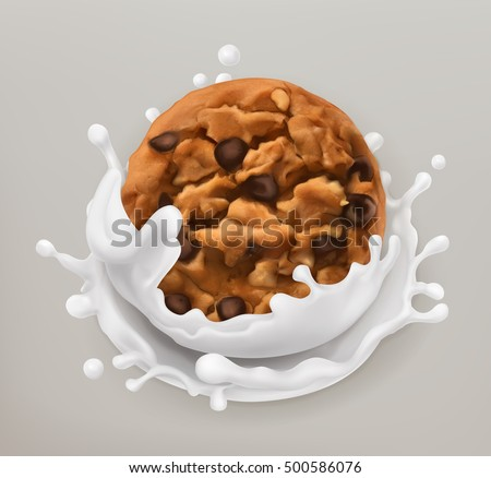 Chocolate cookies and milk splash. Realistic illustration. 3d vector icon