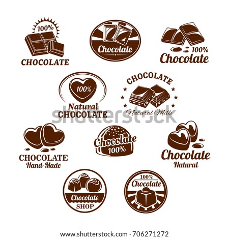 Chocolate Desserts Choco Candy Bars Icons Stock Vector (2018 ...