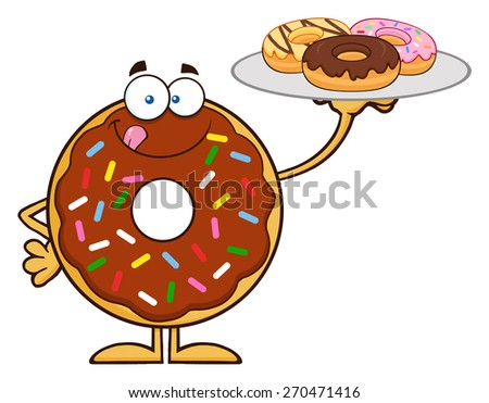 Chocolate Donut Cartoon Character Serving Donuts. Vector Illustration Isolated On White - stock vector