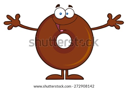 Chocolate Donut Cartoon Character Wanting A Hug. Vector Illustration Isolated On White - stock vector