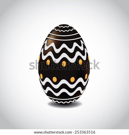 Chocolate Easter egg with fancy designs. EPS 10 Vector royalty free stock illustration for greeting card, marketing, poster, design, blog, invitation, social media - stock vector
