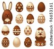 Chocolate Easter figures and eggs - stock vector