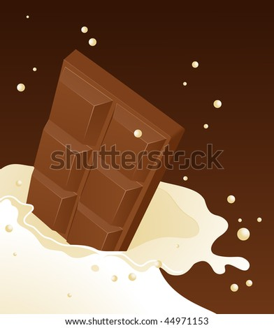 Chocolate falling in milk, vector illustration