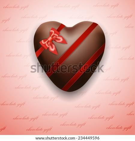 Chocolate heart - stock vector