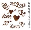 Chocolate heart and love symbols - stock vector