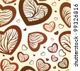 Chocolate hearts seamless vector background - stock photo