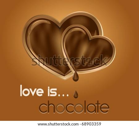Chocolate hearts. Vector illustration. - stock vector