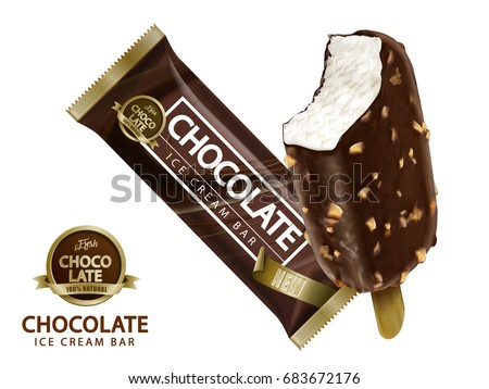 Chocolate ice cream bar design, attractive ice bar and package mockup isolated on white background in 3d illustration