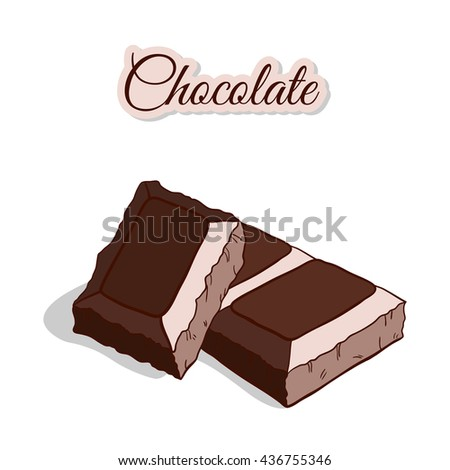 Chocolate Isolated On White - stock vector