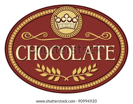 chocolate label - stock vector