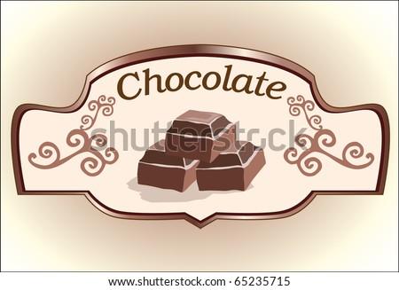 chocolate label design - stock vector