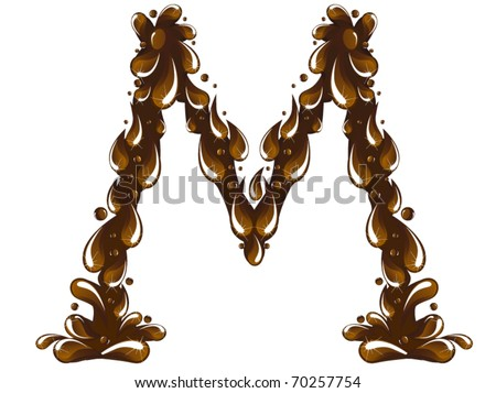 Chocolate letter M - stock vector