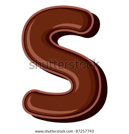 Chocolate letter S isolated on white background