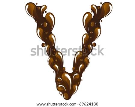 chocolate letter V - stock vector