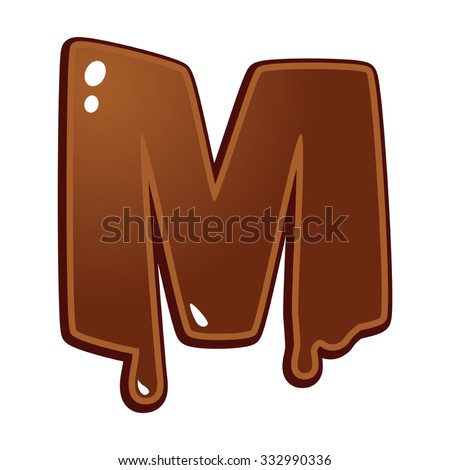 Chocolate melt font type letter M - stock vector