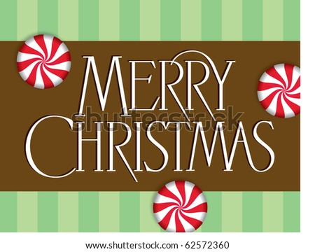 Chocolate Mint Merry Christmas Vector Lettering - stock vector