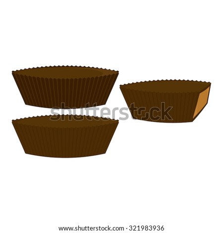 Chocolate peanut butter cups in three states: in paper wrapper, unwrapped, and cut at the side to show the peanut butter filling