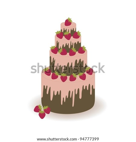 Chocolate pie with a strawberry on a white background