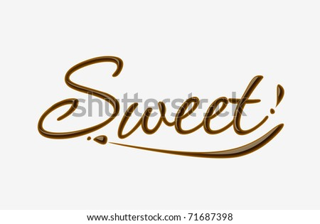 Chocolate sweet text made of chocolate vector design element. - stock vector