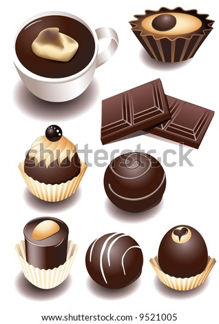 Chocolate sweets, vector illustration, EPS file included - stock vector