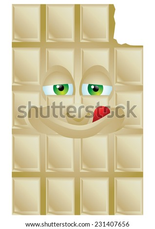 Chocolate vanilla cartoon character smiling isolated - stock vector