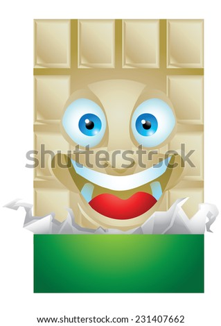 Chocolate vanilla wrapping cartoon character laughing isolated - stock vector