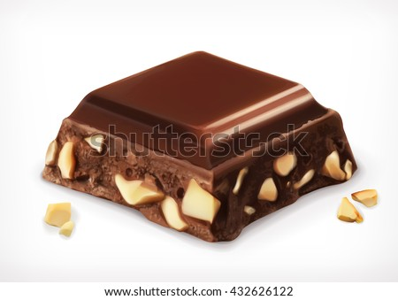 Chocolate with nuts - stock vector