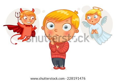 Choice between good and evil. Hand-drawn. Funny cartoon character. Vector illustration - stock vector