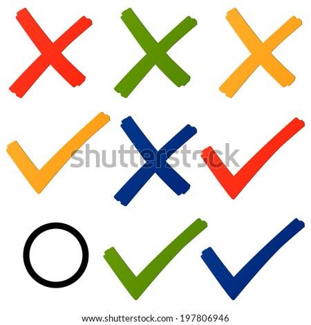 Choice - cross and hook colorful - stock vector