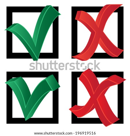 Choice (tick and cross on a white background) - stock vector